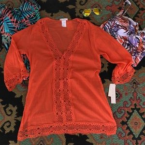 New La Blanca Swimsuit Cover Up Coral Medium